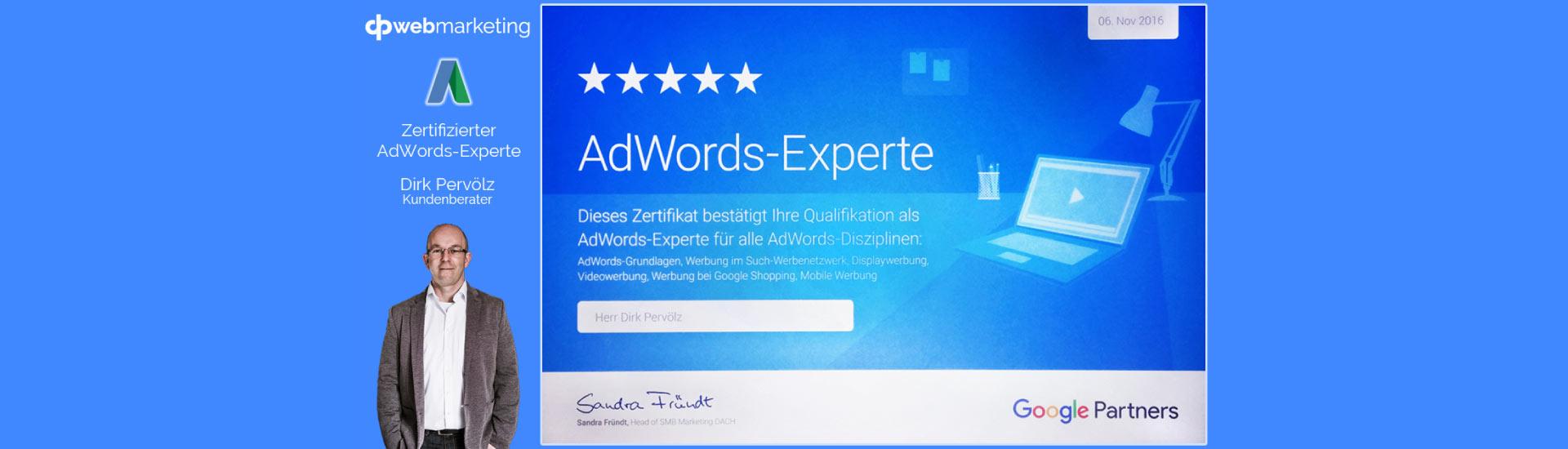 AdWords Experte Dirk Pervölz - Beitragsbild Banner