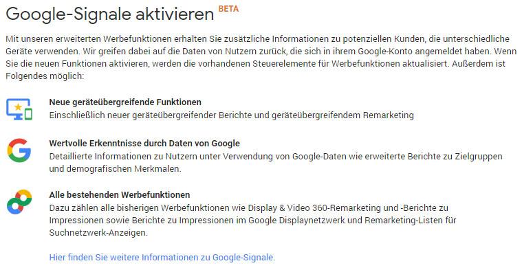 Google Signale Beta | Kurzerklärung