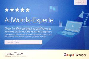 Suchmaschinenwerbung AdWords Agentur - Zertifikat AdWords Experte